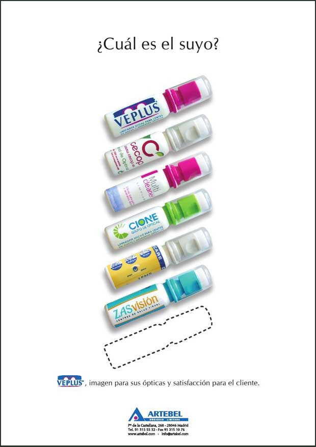 Anuncio 2008 VEPLUS - Limpia lentes, Limpiagafas, Limpia anteojos